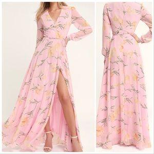 Lulus Loving You Blush Pink Floral Maxi Dress Smal